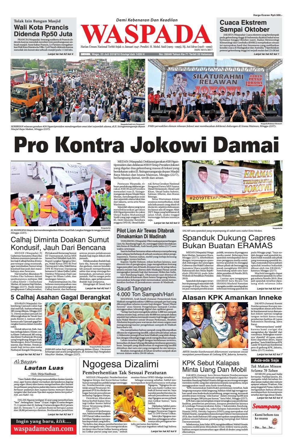 Waspada Senin 23 Juli 2018 By Harian Issuu Tcash Vaganza 37 Kran Tembok Kuningan Tr 5j F