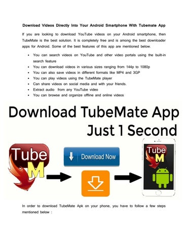 Download Videos Directly Into Your Android Smartphone With Tubemate