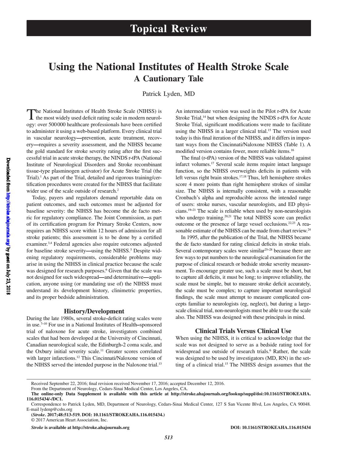 Using The National Institutes Of Health Stroke Scale A Cautionary