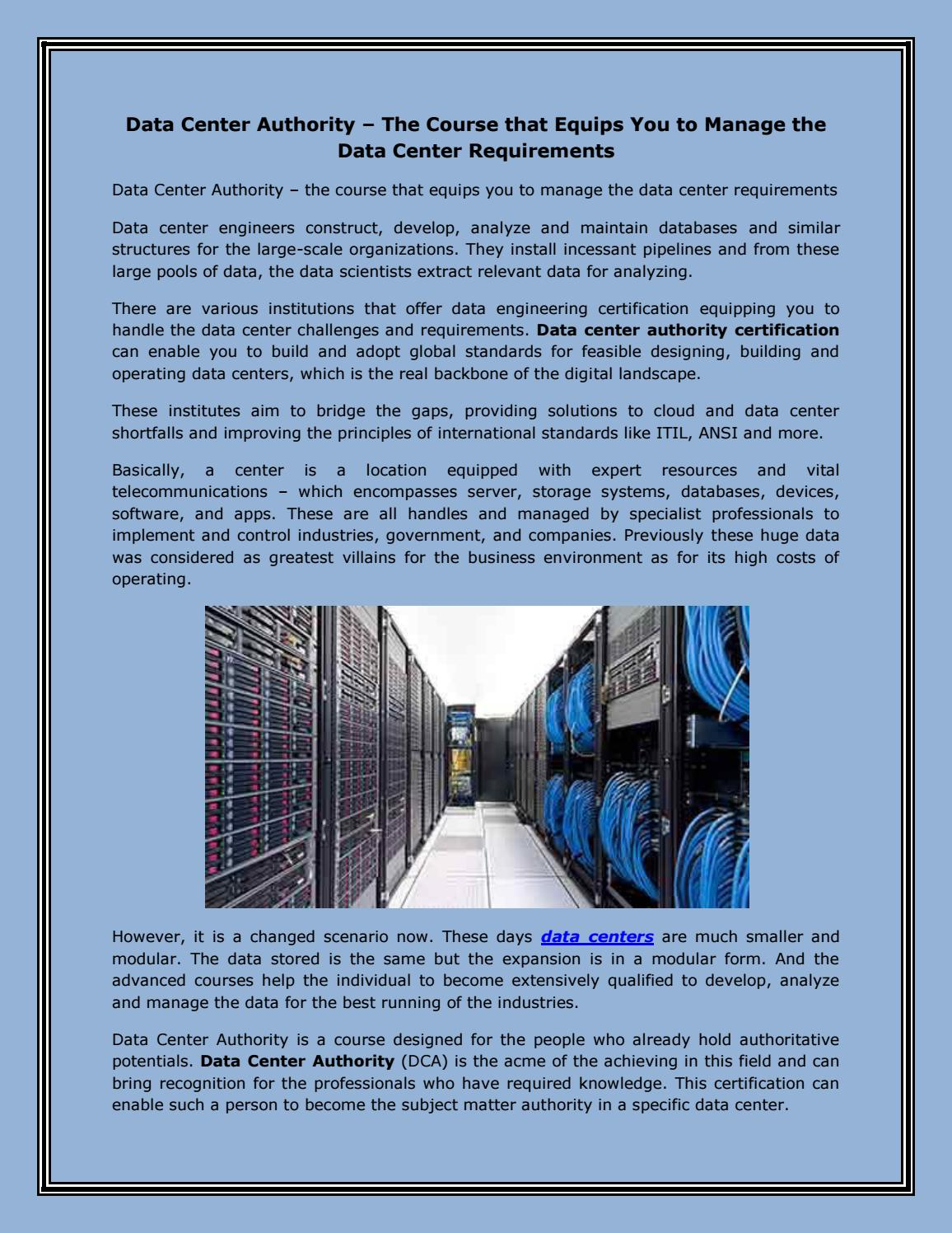 Data Center Authority – The Course that Equips You to Manage