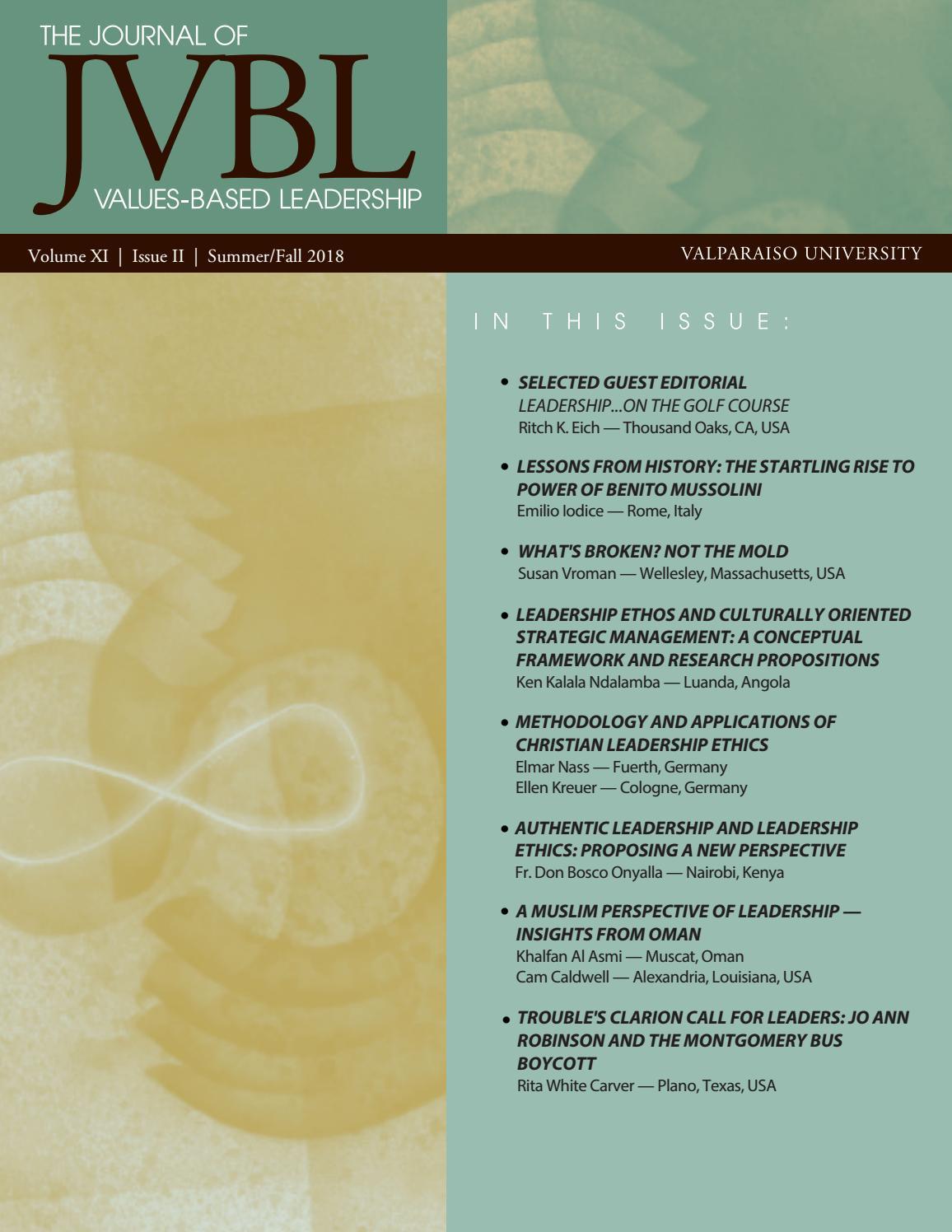 5ca9bf70c62a Journal of Values-Based Leadership (Summer Fall 2018) by ValpoScholar -  issuu