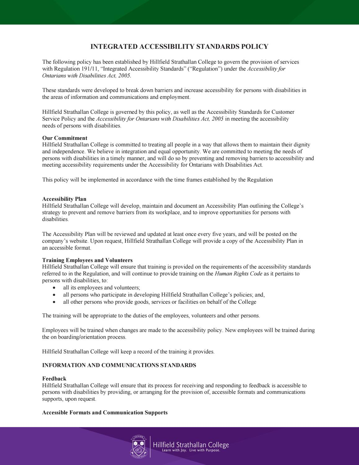 INTEGRATED ACCESSIBILITY STANDARDS POLICY by Hillfield