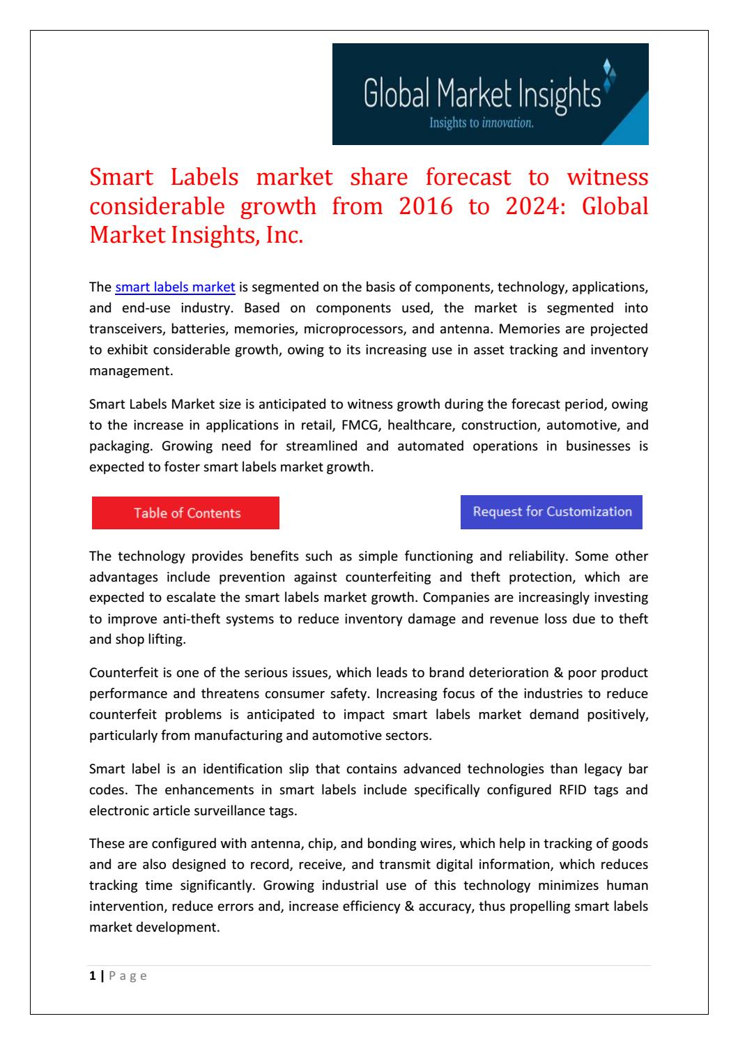Smart Labels market share research by applications and