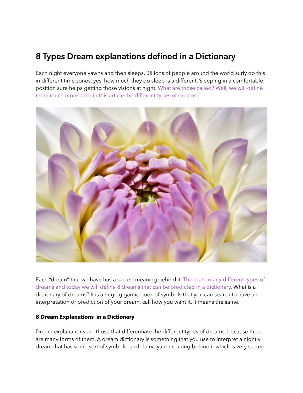 8 Types Dream Explanations Defined In A Dictionary By Monica Beltie Issuu