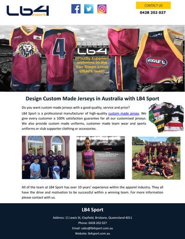 Design Custom Made Jerseys In Australia With Lb4 Sport By Lb4sport