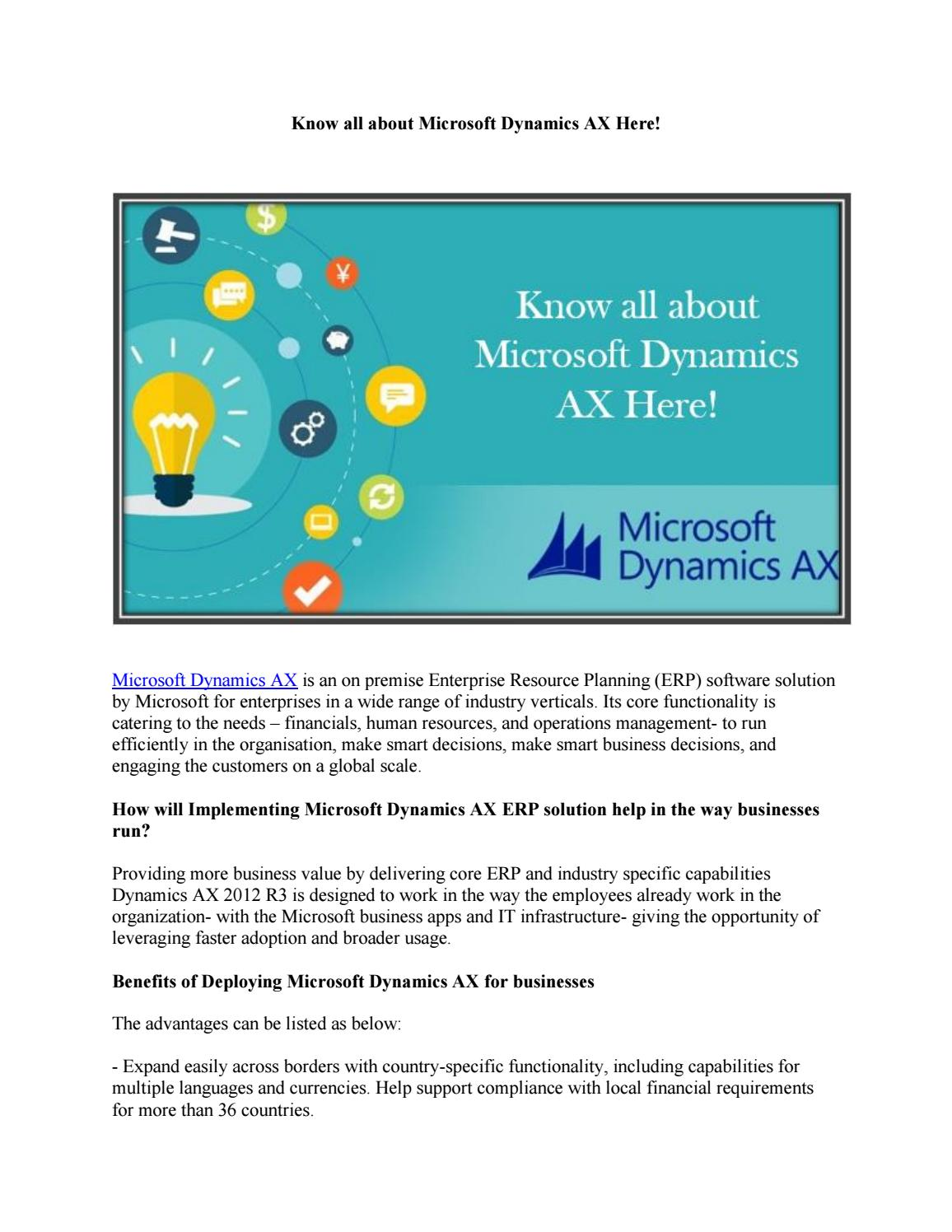 Know All About Microsoft Dynamics Ax Here By Devikaletec Issuu