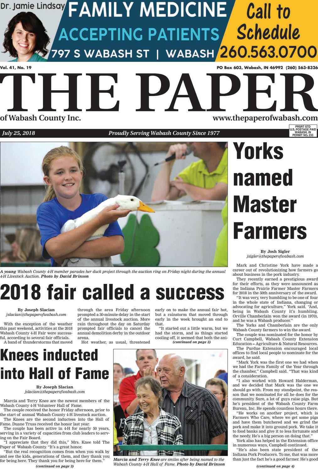 c4807b2eb The Paper of Wabash County -- July 25, 2018 by The Paper of Wabash County -  issuu