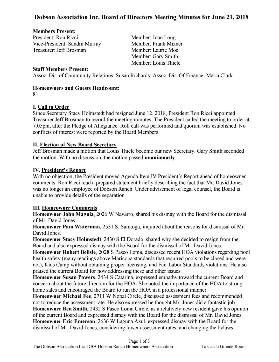 BOARD OF DIRECTORS JUNE 21 2018 MINUTES by The Dobson Association