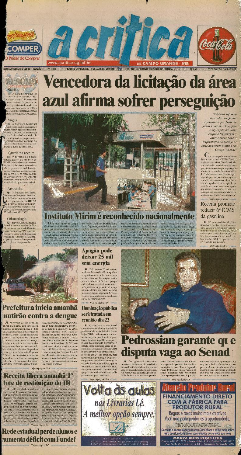 Jornal A Critica - Edição 1061 - 13 01 2002 by JORNAL A CRITICA - issuu 4aa7a1033d