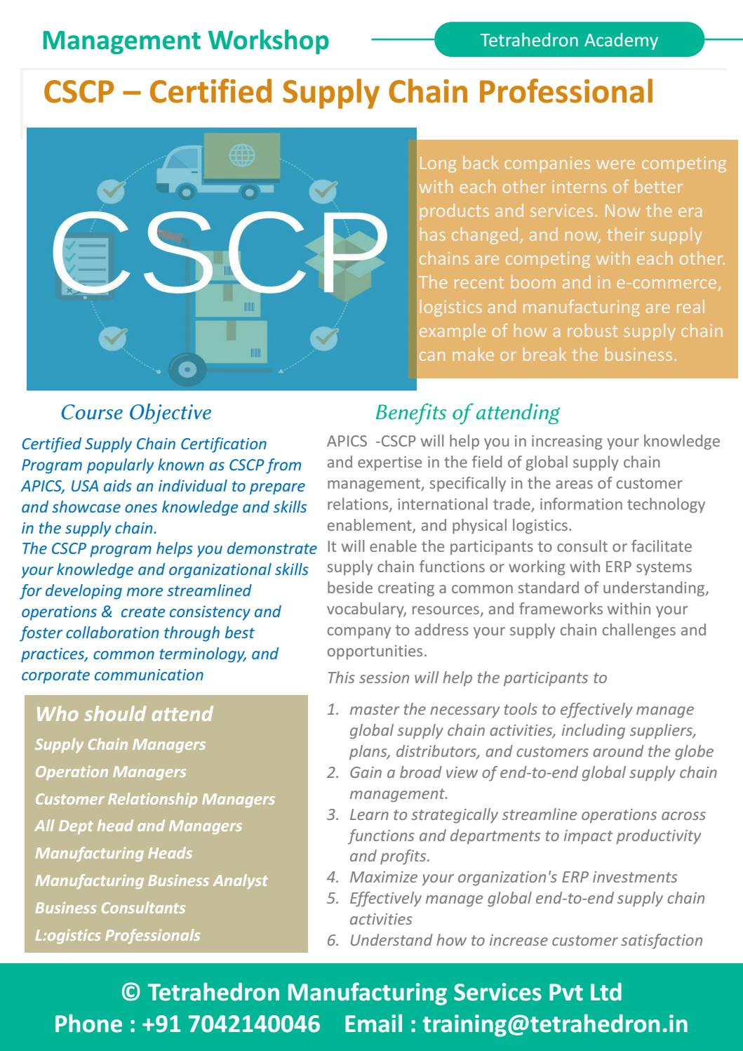 Cscp Certified Supply Chain Professional Workshop By Tetrahedron