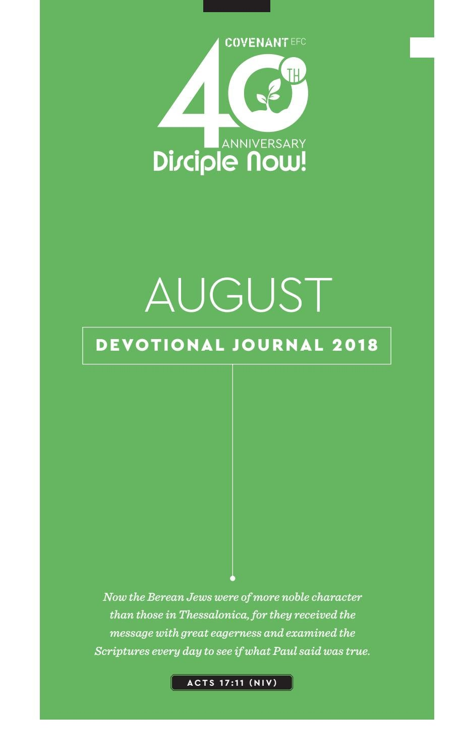 August Devotional Journal 2018 By Covenant Efc Issuu