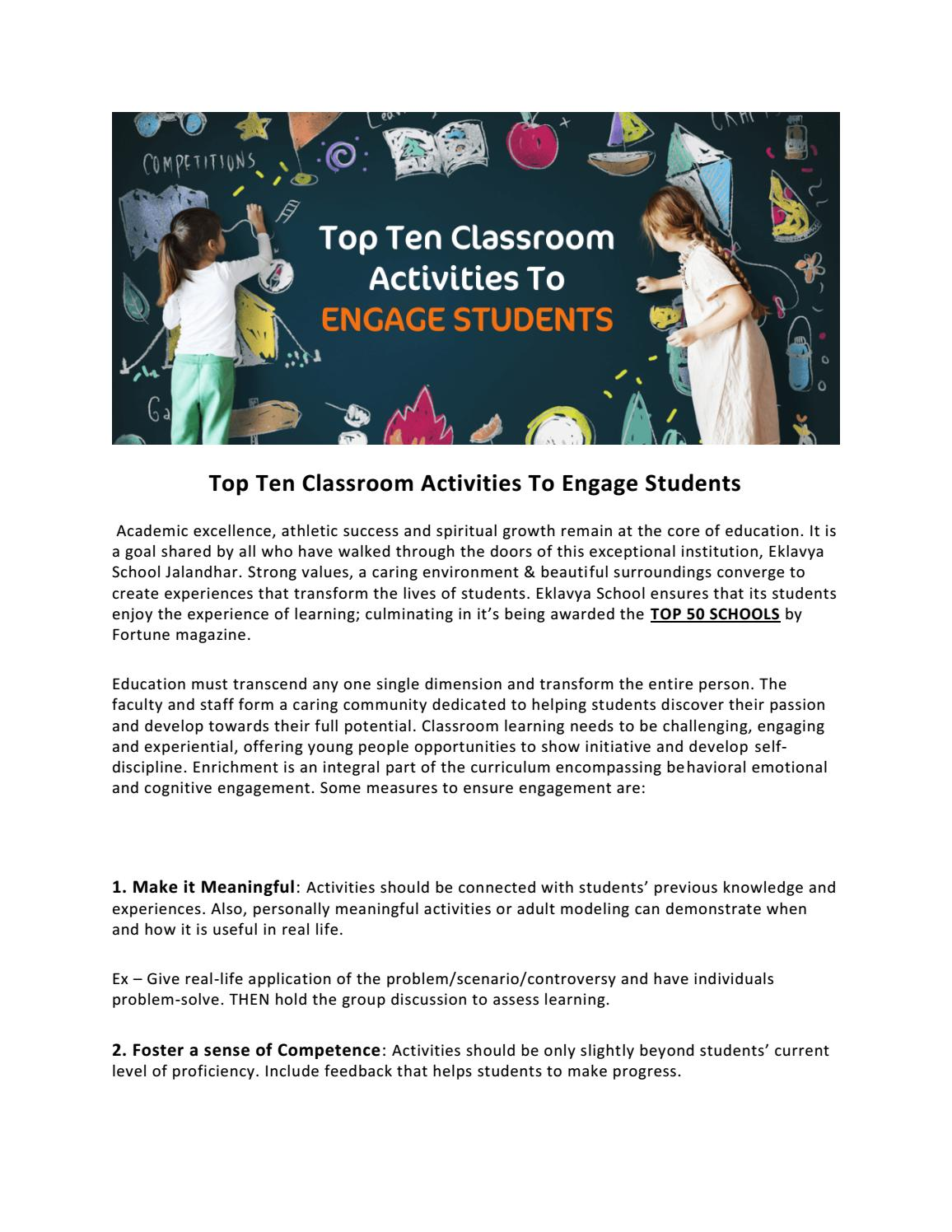 Top Ten Classroom Activities To Engage Students by Eklavya