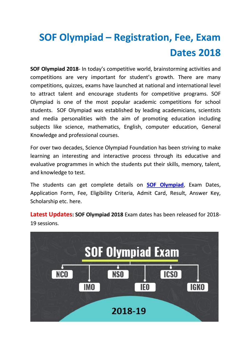 SOF Olympiad – Registration, Fee, Exam Dates 2018 by Riya Ahuja - issuu