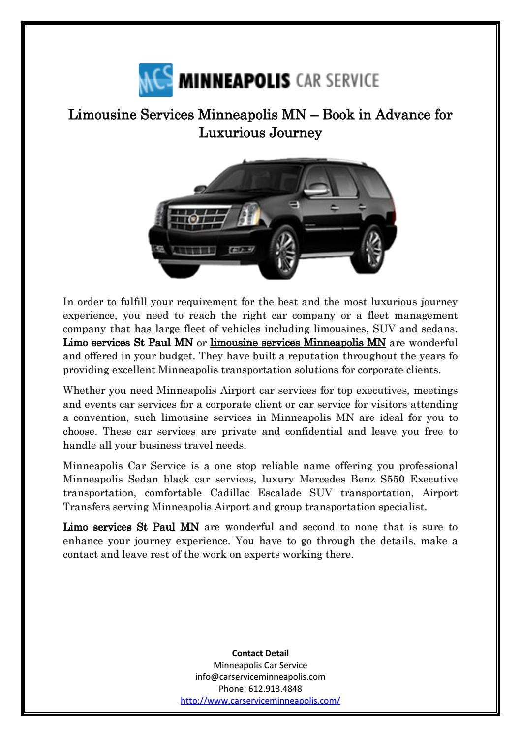 Limousine Services Minneapolis Mn Book In Advance For Luxurious