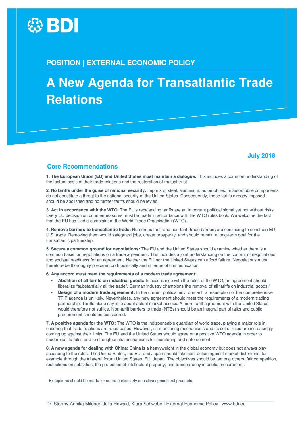 A New Agenda For Transatlantic Trade Telations By Bundesverband Der