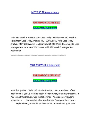 MGT 230 AID Course Real Knowledge/mgt230aid com by awemultipledisor