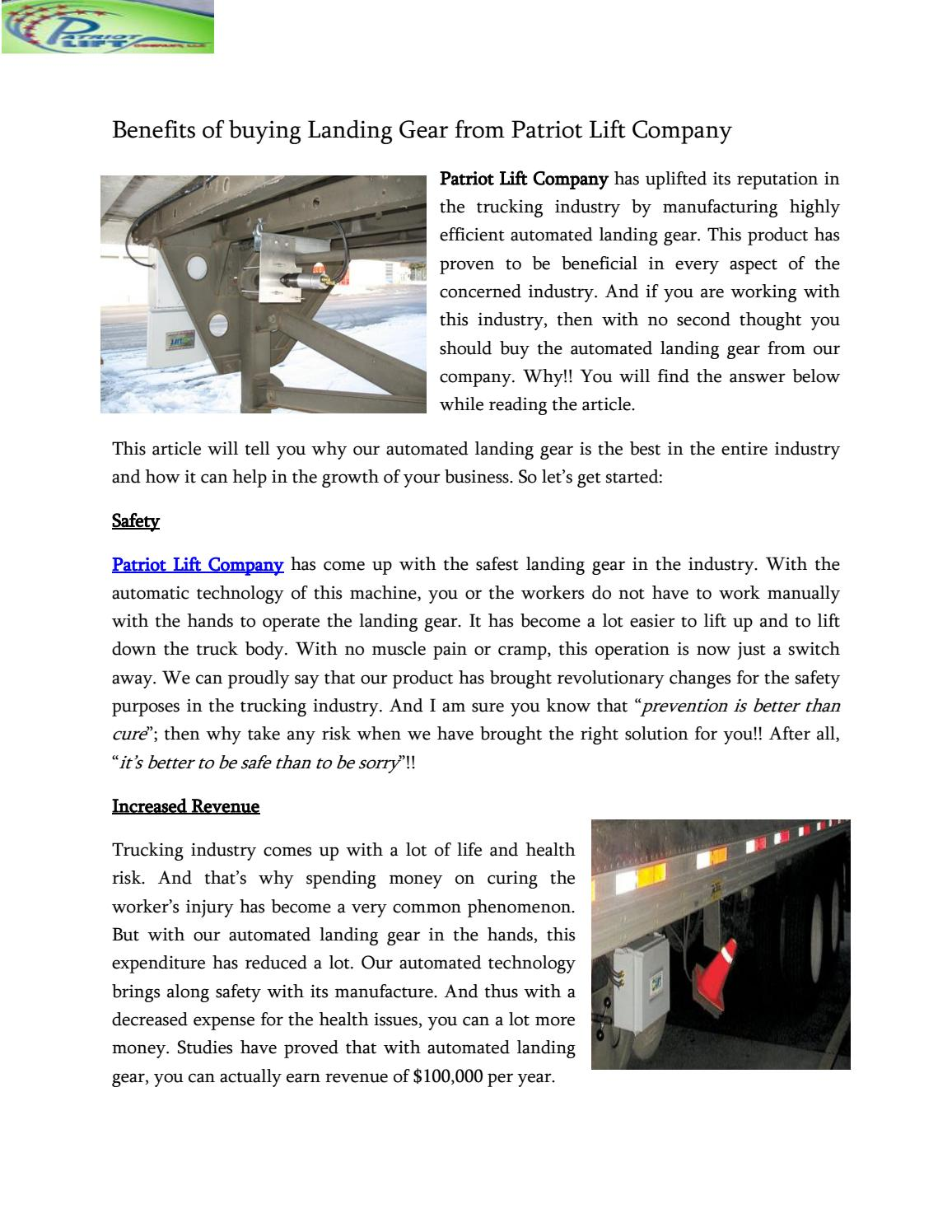 3b5dbba02b5 Benefits of buying Landing Gear from Patriot Lift by Patriotlift - issuu