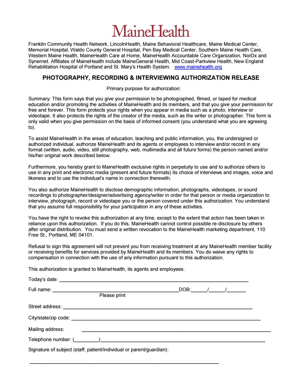 MaineHealth Photo Release Form by Pen Bay Medical Center - issuu