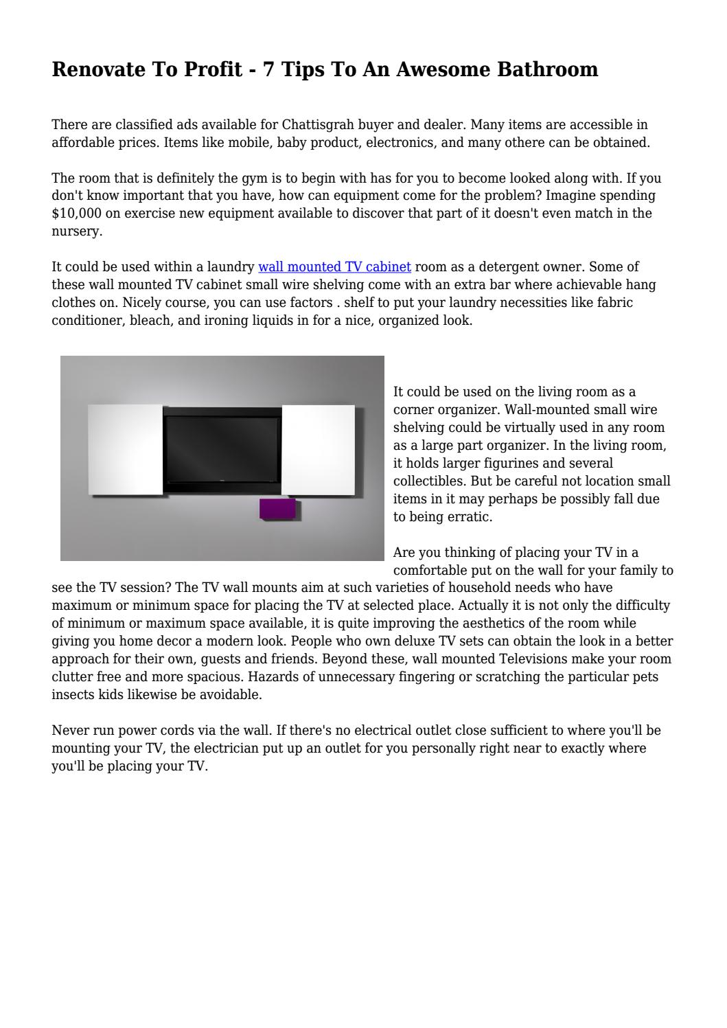 Renovate To Profit 7 Tips An Awesome Bathroom By Mrmagazinenext Wiring Up Wall Mounted Tv Issuu