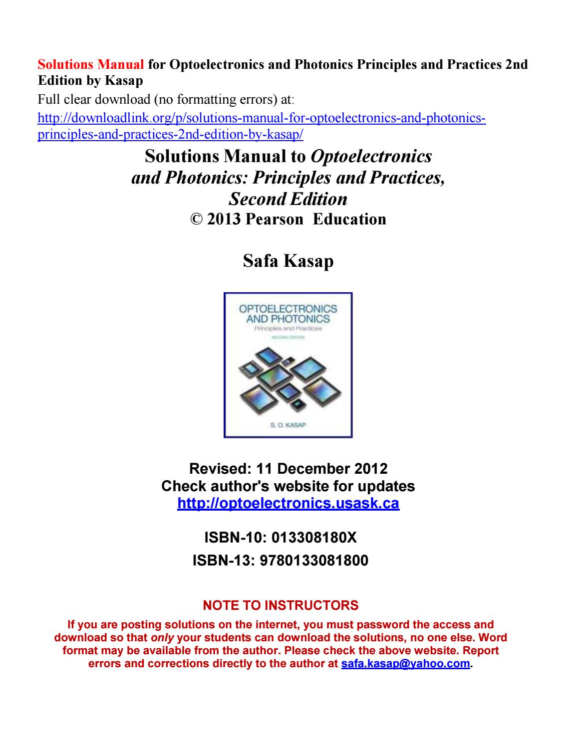 Solutions Manual for Optoelectronics and Photonics Principles and Practices  2nd Edition by Kasap by Russelleeq - issuu