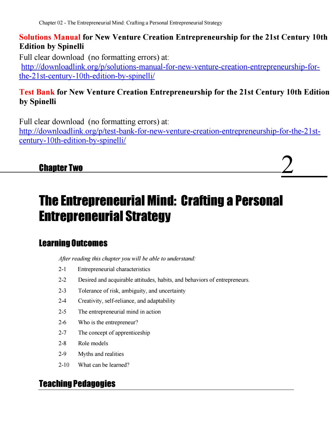 Solutions Manual for New Venture Creation Entrepreneurship for the 21st  Century 10th Edition by Spin by Crawford887 - issuu