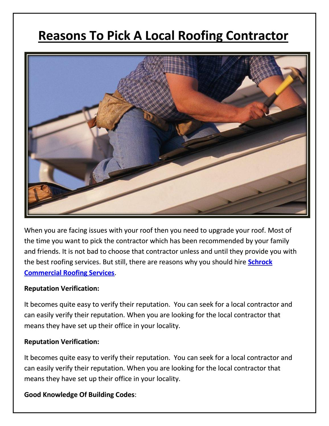 Reasons To Pick A Local Roofing Contractor