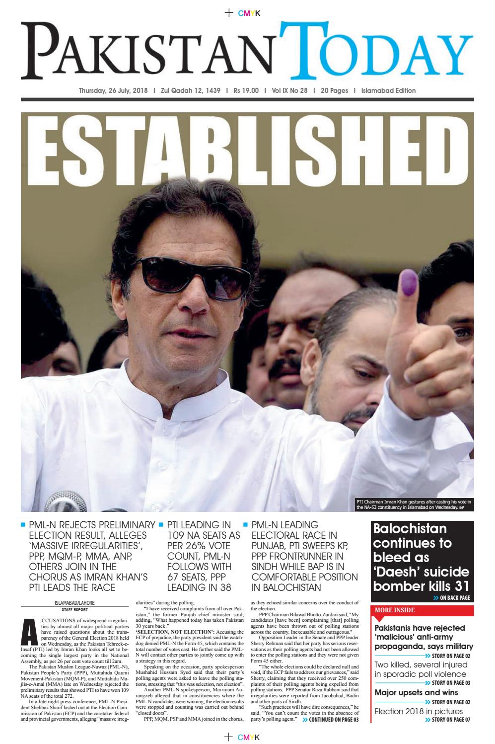 E-Paper PDF 26 July 2018 (ISB) by Pakistan Today - issuu