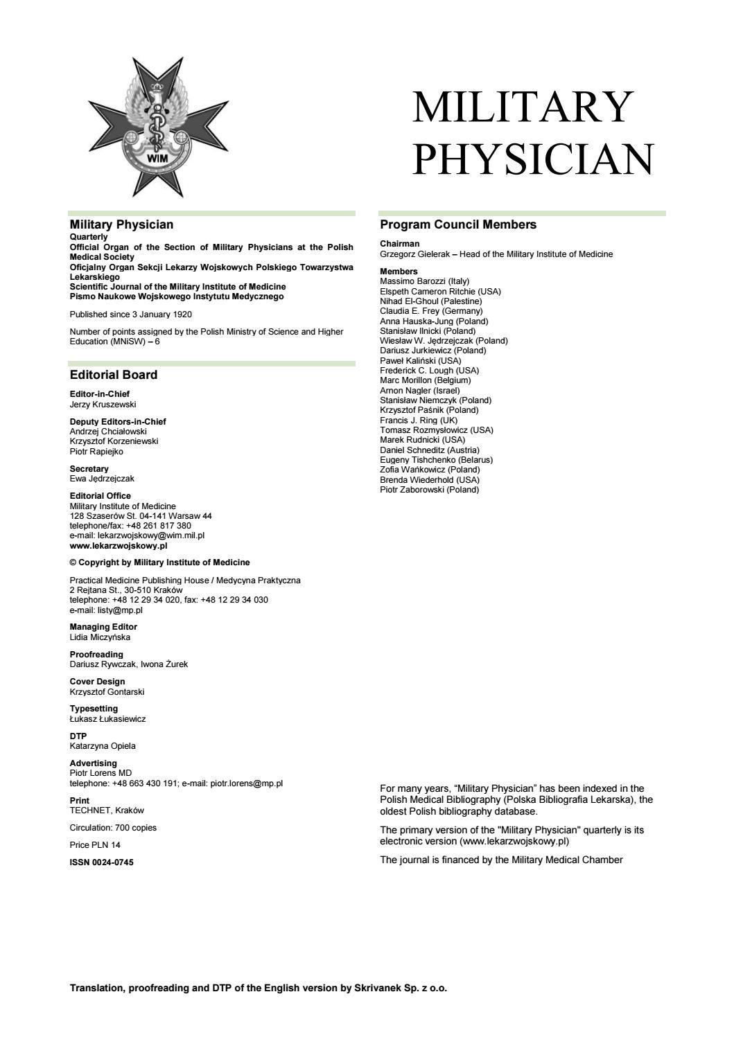 Lekarz Wojskowy 1 2018 Eng Ver By Medycyna Praktyczna Issuu