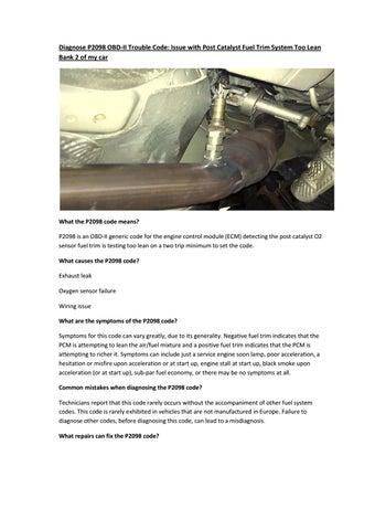 Partsavatar, Toronto - Diagnose P2098 OBD-II Trouble Code by