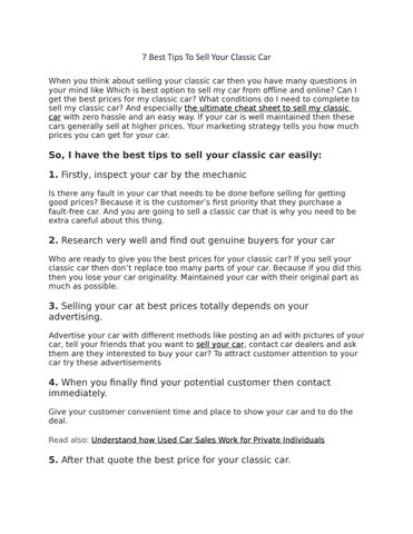 7 Best Tips To Sell Your Classic Car By Newjerseycash4car Issuu