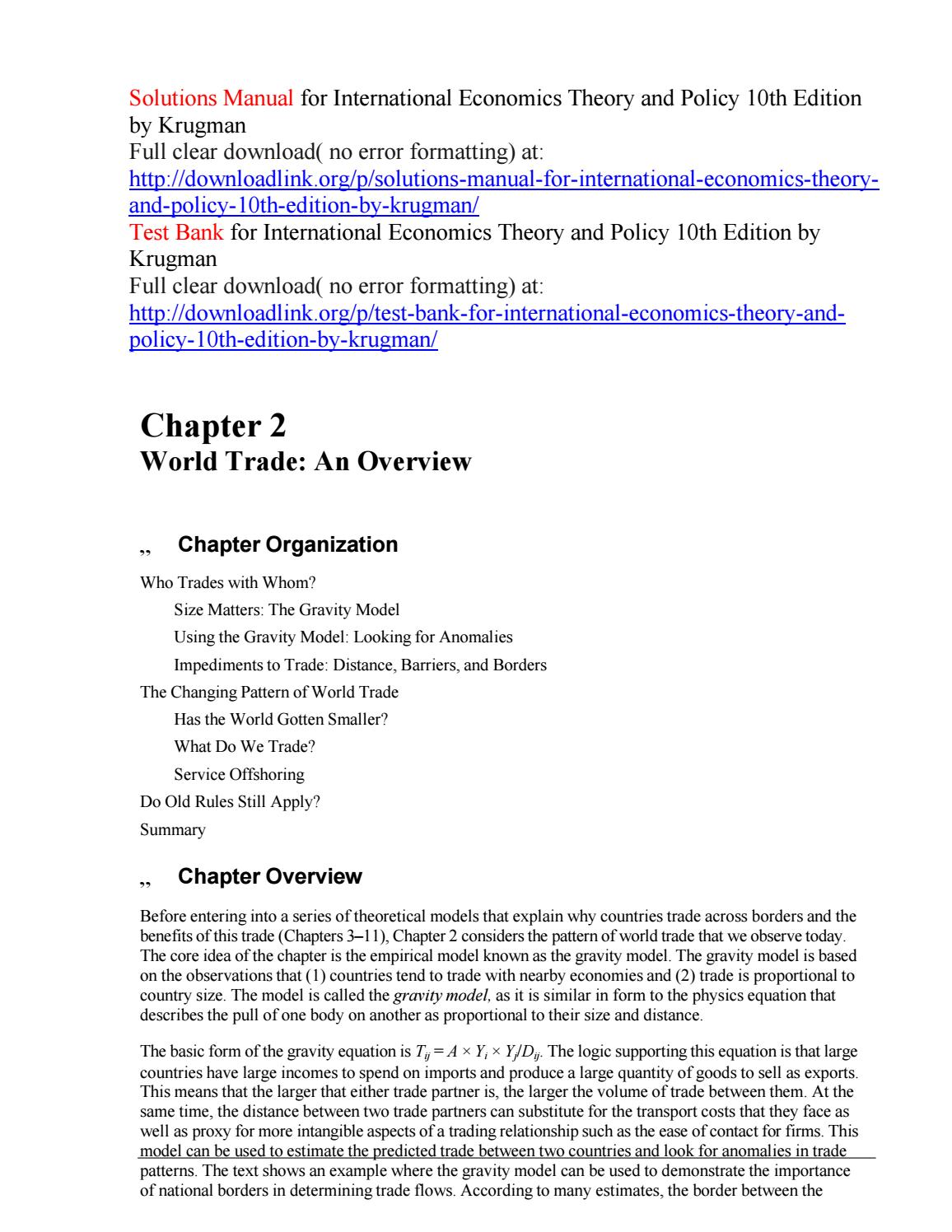 solutions manual for international economics theory and policy 10th rh  issuu com