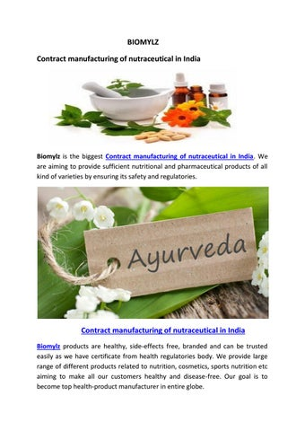Contract manufacturing of nutraceutical in India by biomylz