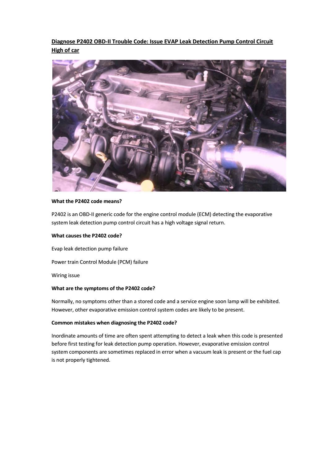 Partsavatar CA - Diagnose P2402 OBD-II Trouble Code by