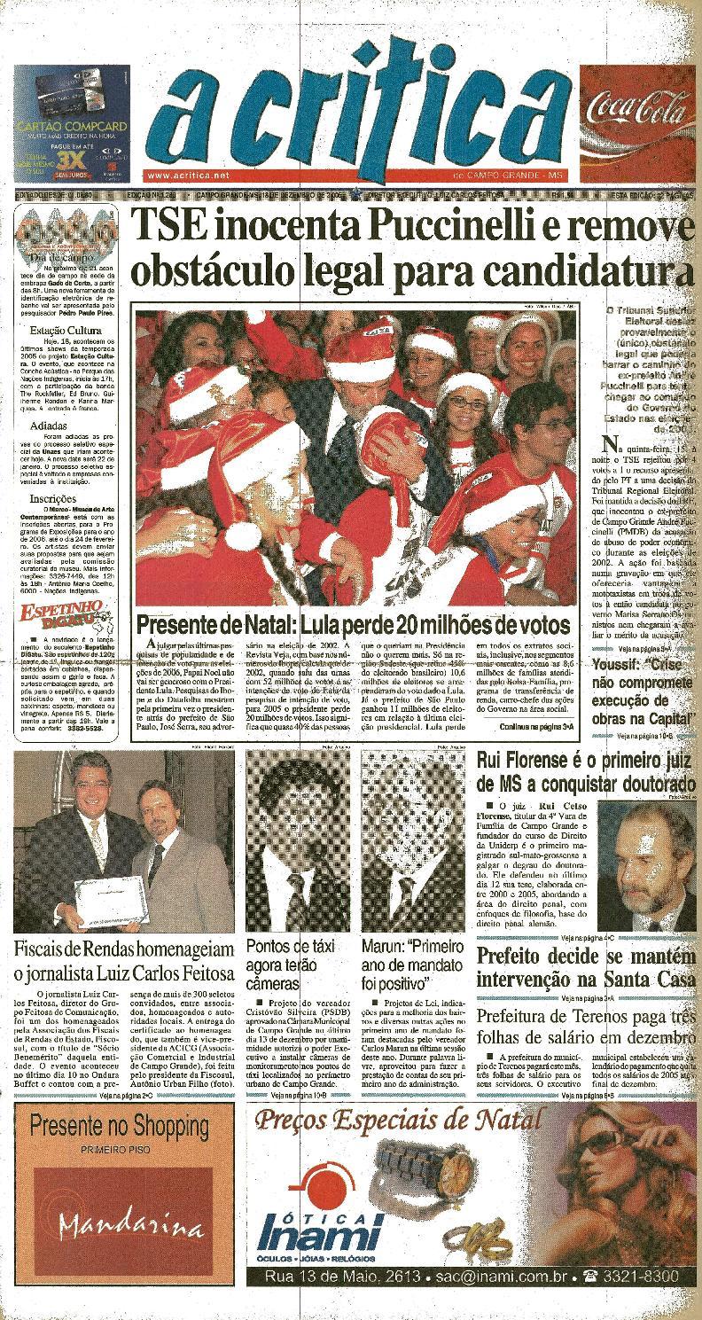 Agrada O Papai Que Tu Monta jornal a critica - edição 1260 - 18/12/2005jornal a