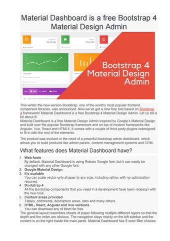 Material Dashboard is a free Bootstrap 4 Material Design Admin by