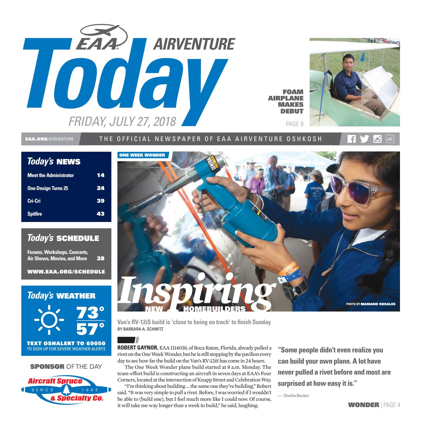EAA AirVenture Today - Friday, July 27, 2018 by EAA: Experimental