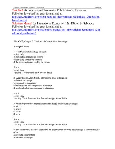 International Economics Salvatore 11th Edition Pdf