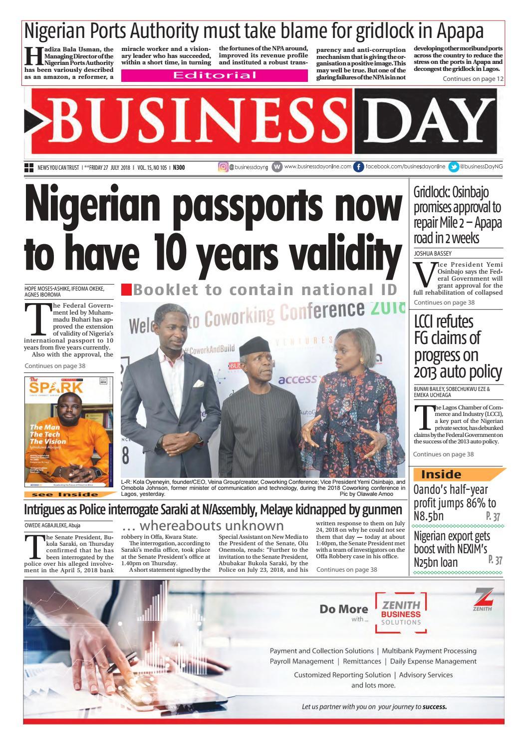 BusinessDay 27 Jul 2018 by BusinessDay - issuu