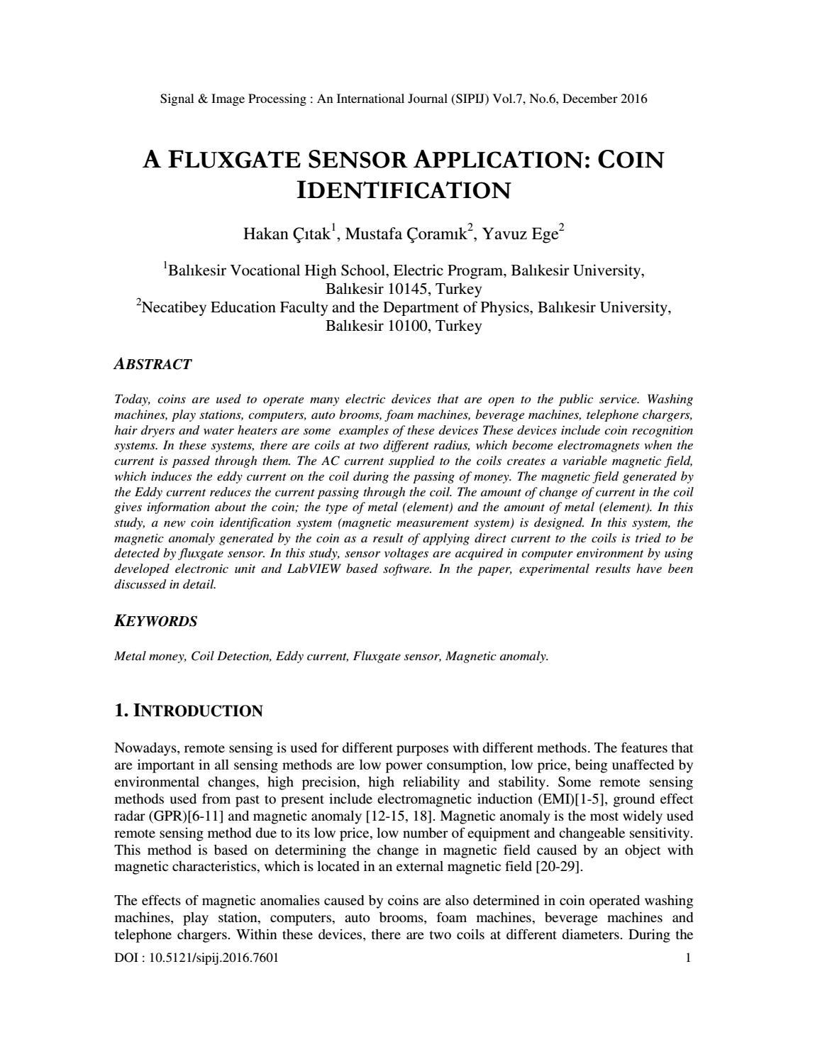 A FLUXGATE SENSOR APPLICATION: COIN IDENTIFICATION by