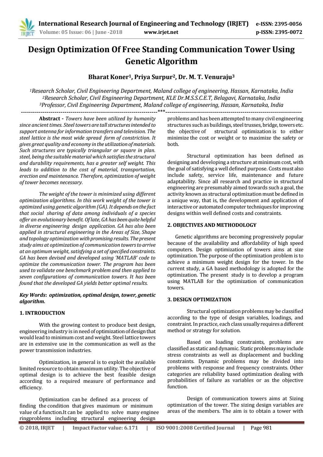 IRJET-Design Optimization of Free Standing Communication Tower using
