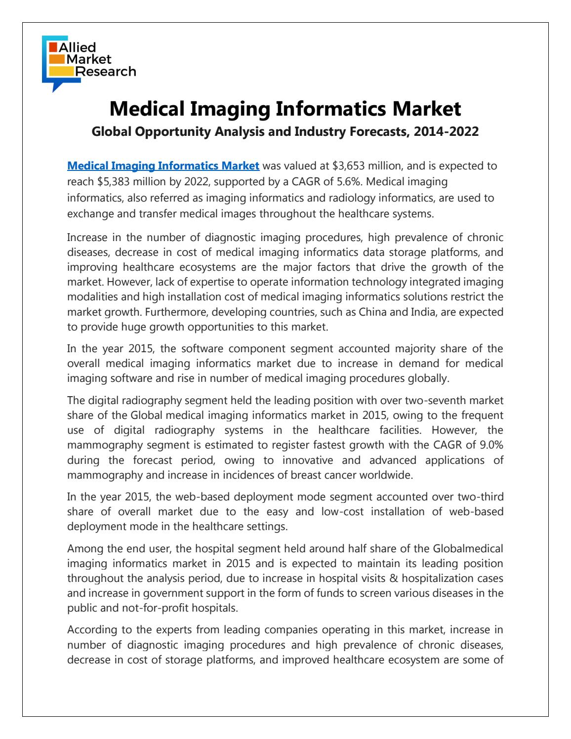 Medical Imaging Information Market by rediffmail920 - issuu dbb79321c02