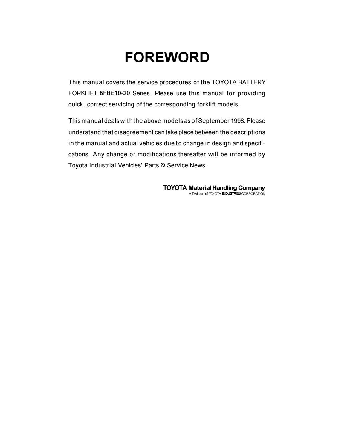 Toyota 5FBE18 Forklift Service Repair Manual by 163610 - issuu