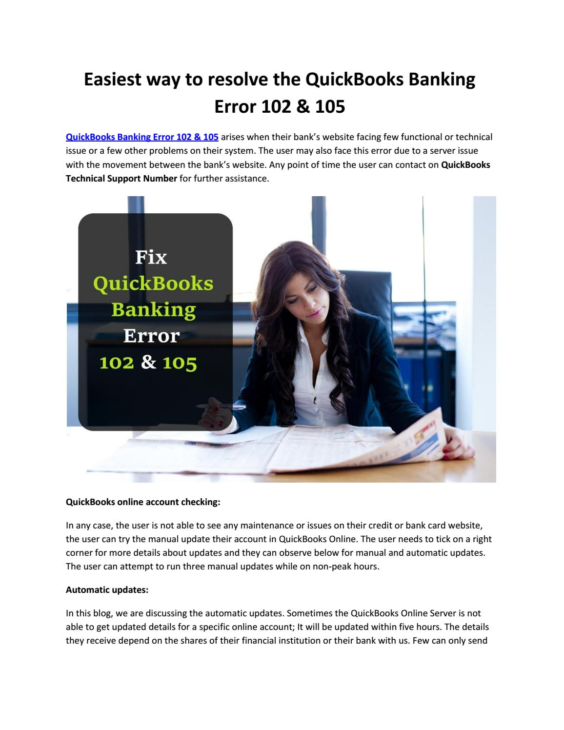Easiest way to resolve the QuickBooks Banking Error 102 by