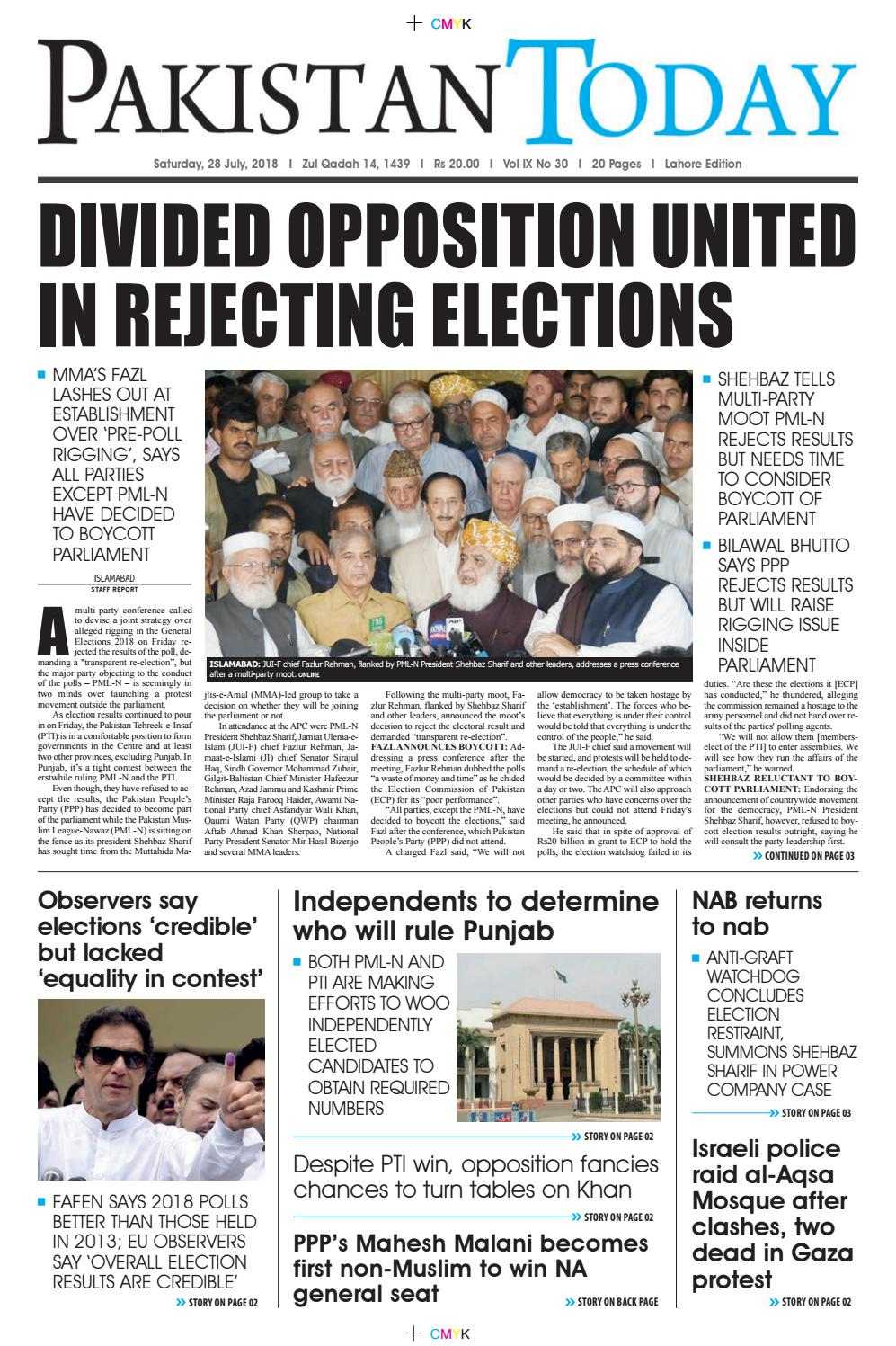 E-Paper PDF 28 July 2018 (LHR) by Pakistan Today - issuu