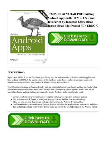 Building Android Apps With Html Css And Javascript Pdf