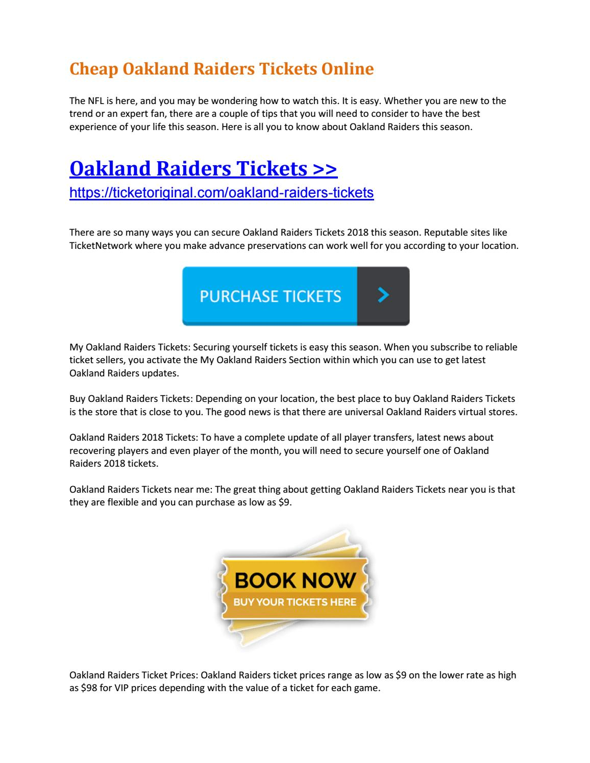 on sale 4850e b92a0 Cheap Oakland Raiders Tickets Online by Ticket Original - issuu