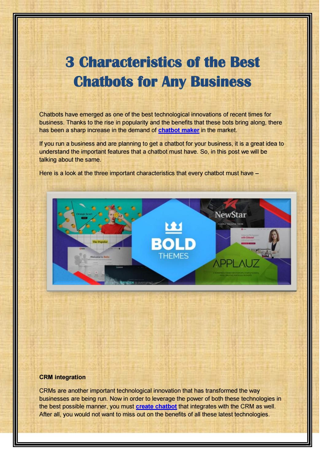 3 Characteristics of the Best Chatbots for Any Business by