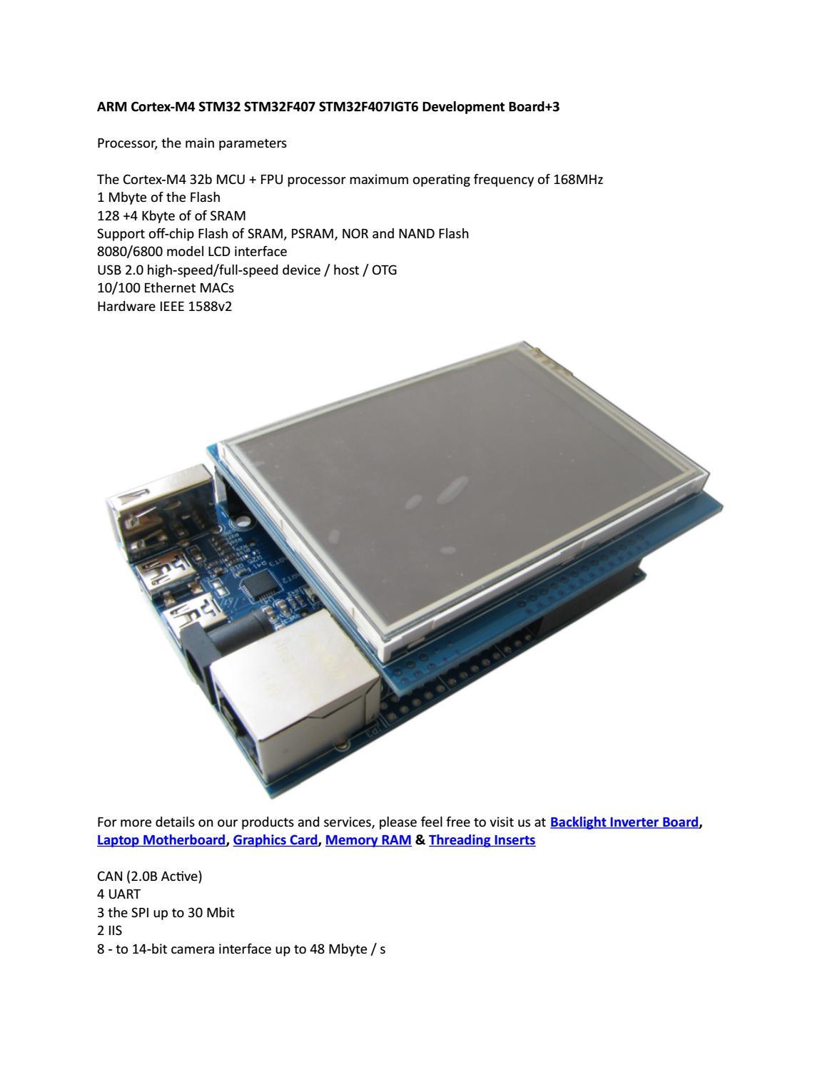 ARM Cortex-M4 STM32 STM32F407 STM32F407IGT6 Development