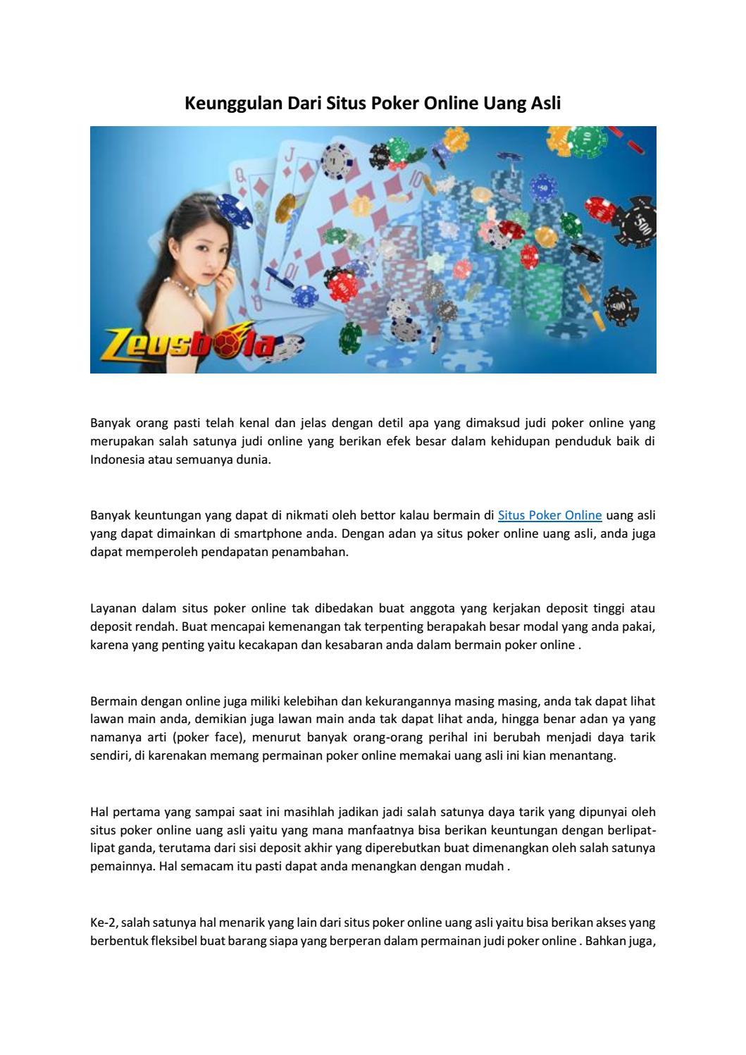 Keunggulan Dari Situs Poker Online Uang Asli By Agentzeusbola Issuu