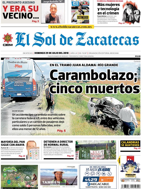 fa7737f8465 El Sol de Zacatecas 29 de julio 2018 by El Sol de Zacatecas - issuu